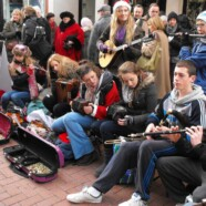 Busking on Christmas Eve
